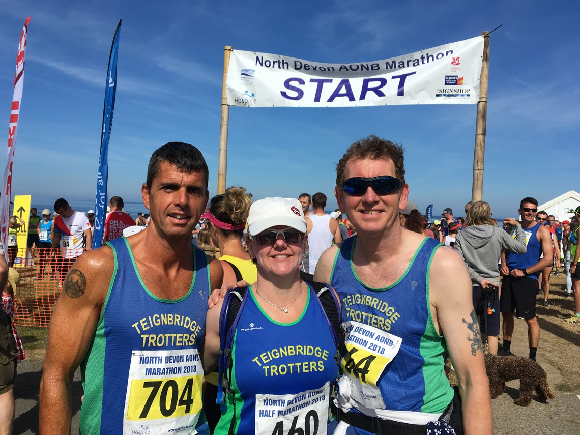 roger, emma and jim at the start of the north devon marathon.jpeg