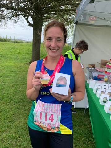 katey blackmore having run her first marathon at the cupcake caper.jpg