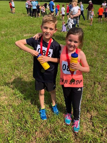 clyst hydon huff fun run winners, luca and rubi.jpg