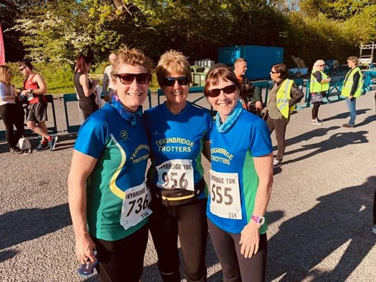 susanne westgate, julia street and alison jackson before competing in ivybridge 10k.jpg